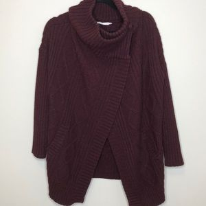 BLUENOTES burgundy cable knit sweater jacket M
